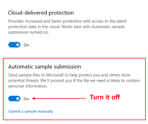 automatic sample submission Windows Defender 6