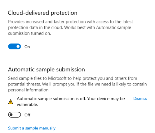 automatic sample submission Windows Defender 7