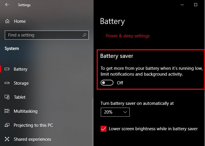 Enable or Disable Battery Saver In Windows 10