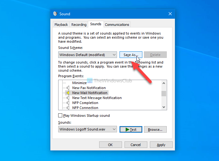 How to change new email notification sound on Windows 10