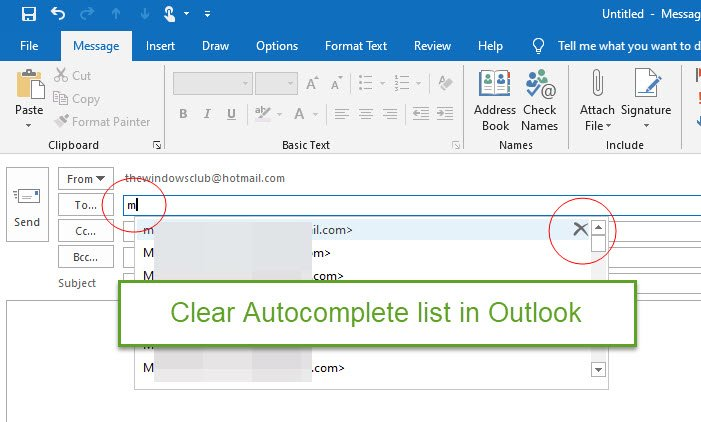 clear the Autocomplete list in Outlook