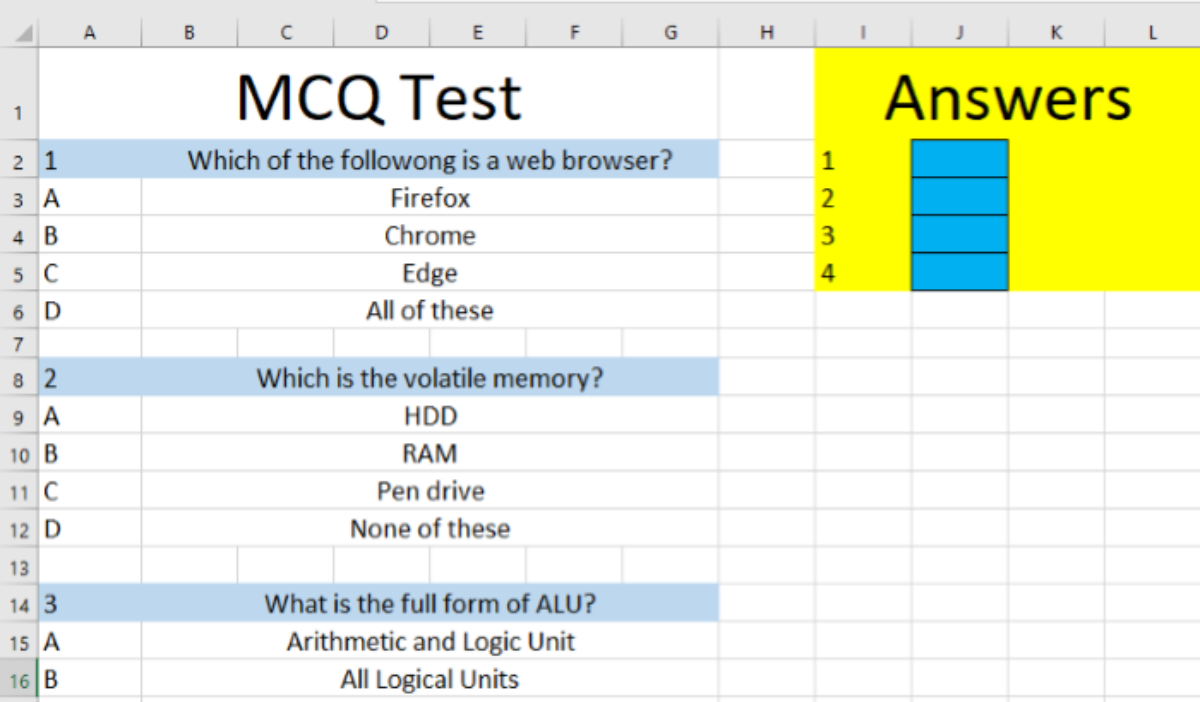 How to create a Quiz in Excel