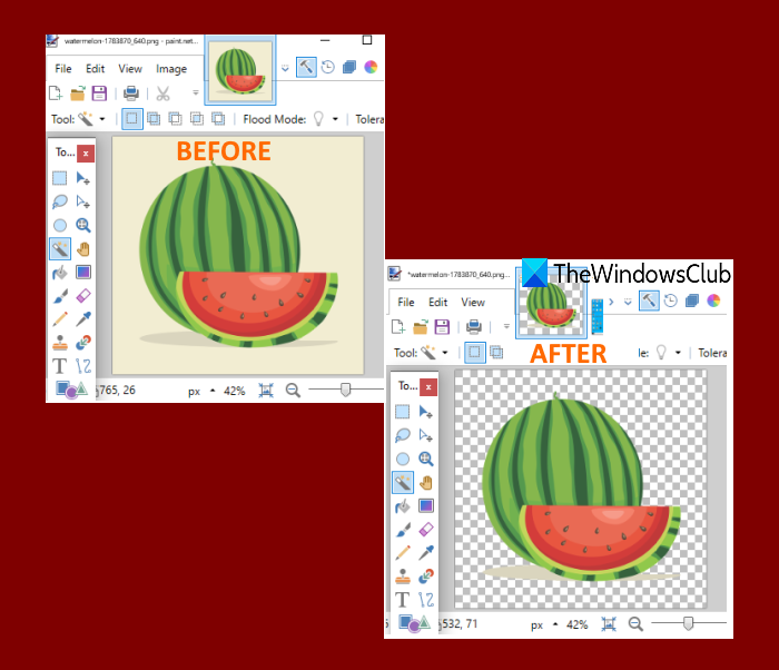 create transparent image Paint.NET