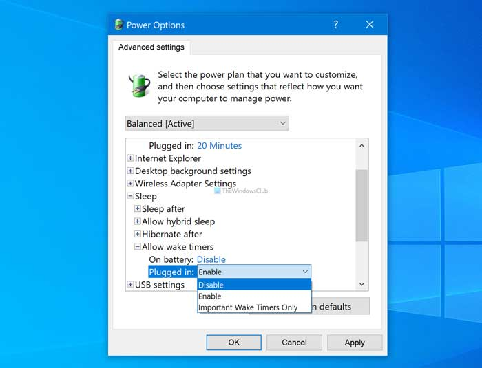 How to enable or disable Allow wake timers on Windows 10