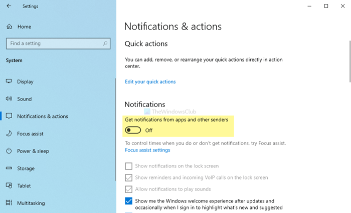 Disable notifications from apps and other senders in Windows 10