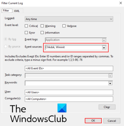 How to view ChkDsk log in Event Viewer