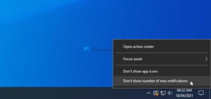 How to hide total number of new notifications in Action Center
