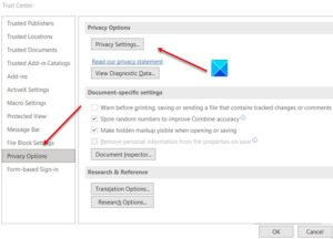 Microsoft Office Privacy Options