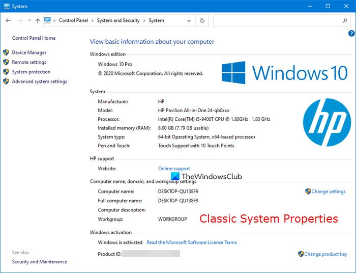 open System Properties in Windows 10