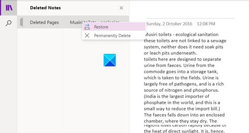 Recover Notes Deleted from OneNote app