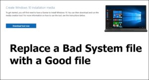replace bad system file good file Windows