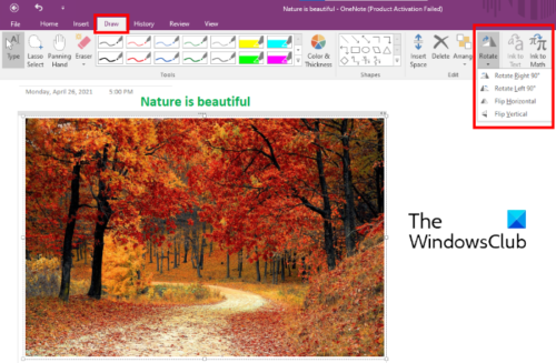 rotate image in OneNote_2016
