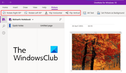 rotate picture OneNote for Windows 10