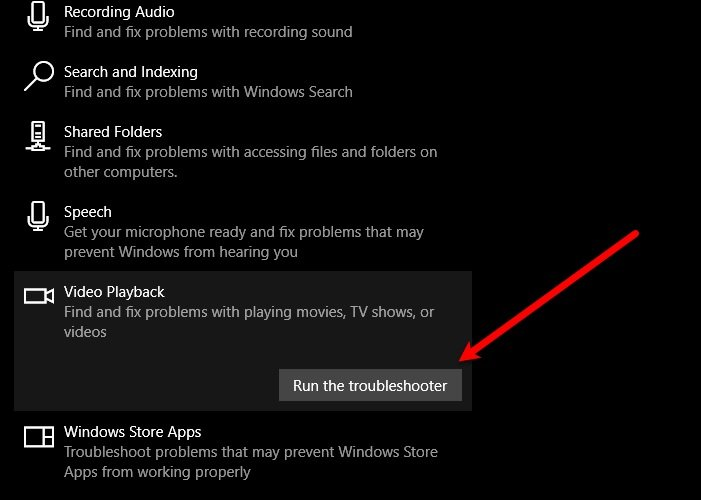 Error Code 0xc1010103 while playing video on Windows 10