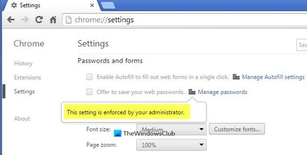 This setting is enforced by your administrator - Chrome