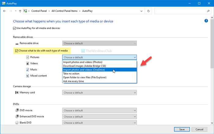 How to stop OneDrive from automatically saving photos from connected devices
