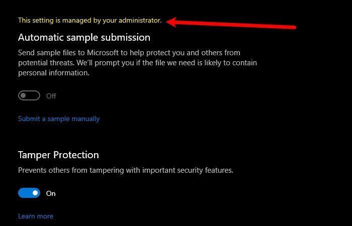 Windows Defender: This setting is managed by your administrator