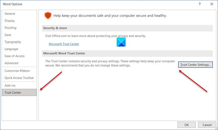 Privacy Options in Microsoft Office
