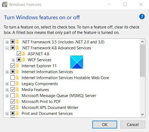Turn Windows Features Off