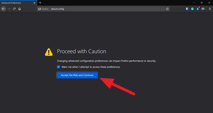 Accept the risk to Continue in Firefox