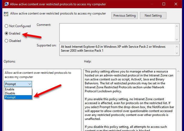 Allow active content over restricted protocols to access my computer
