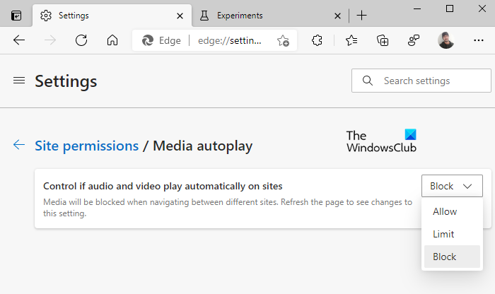 Block autoplaying videos completely in Edge.