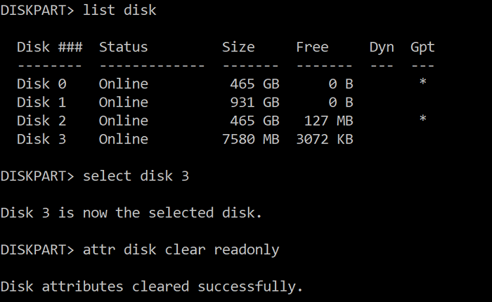 Clear Disk Read Only Attribute