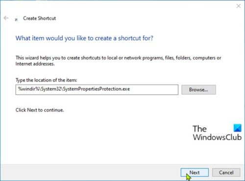 Create System Protection shortcut