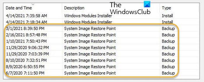 Delete System Image Restore Point
