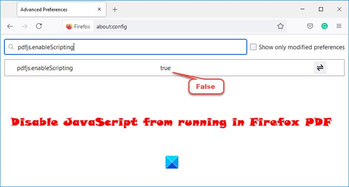 Disable JavaScript from running in Firefox PDF