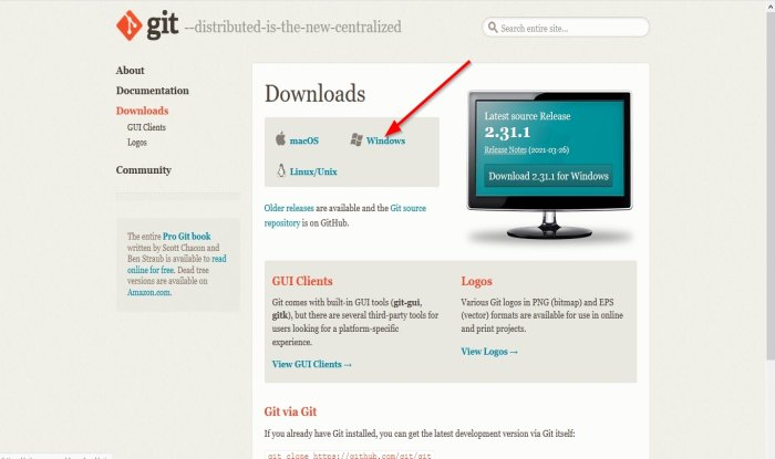 download and install Git in Windows 10