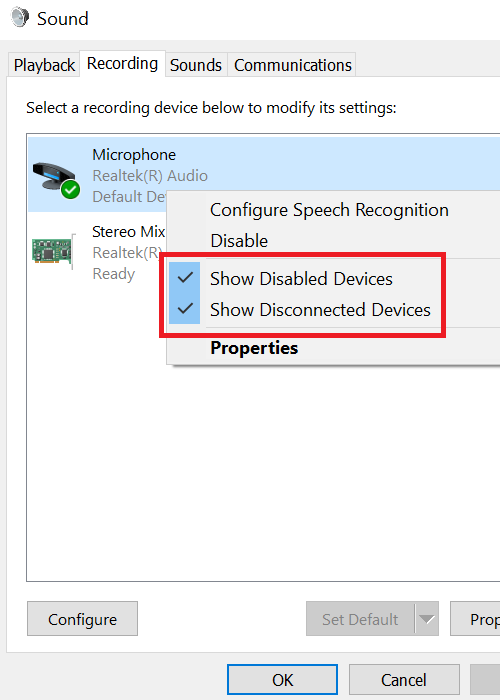 Enable microphone and set it as Default