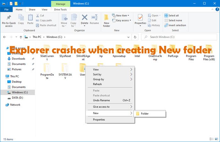 Explorer crashes or freezes when creating New folder