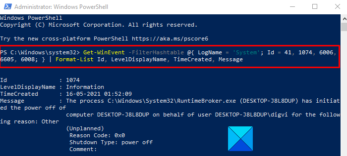 Find the cause of unexpected shut down using PowerShell
