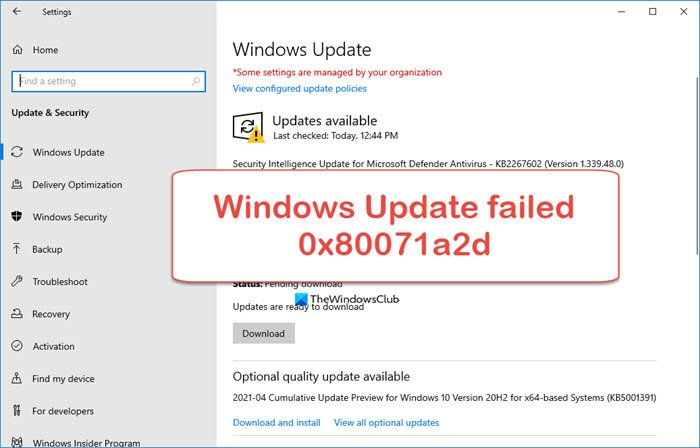 Fix 0x80071a2d Windows Update error