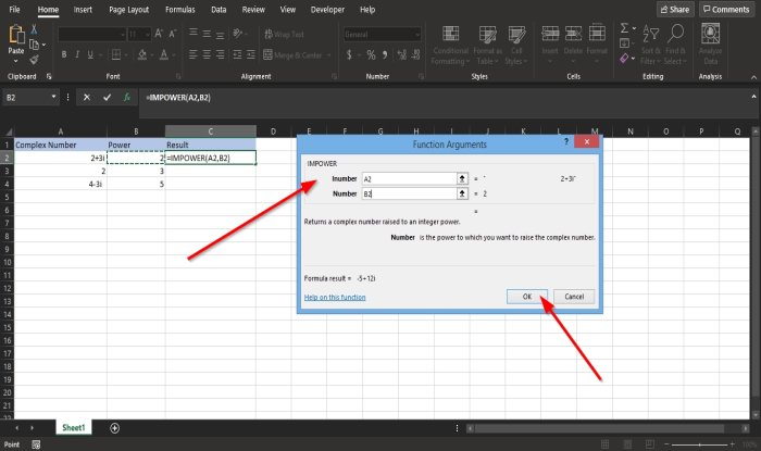 How to use IMPOWER function in Excel