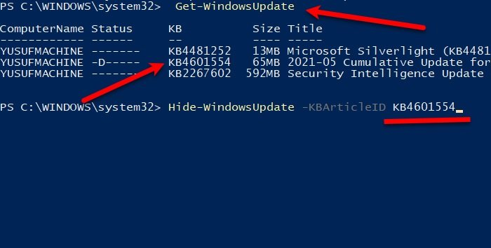 Show or Hide Cumulative Updates using PowerShell in Windows 10