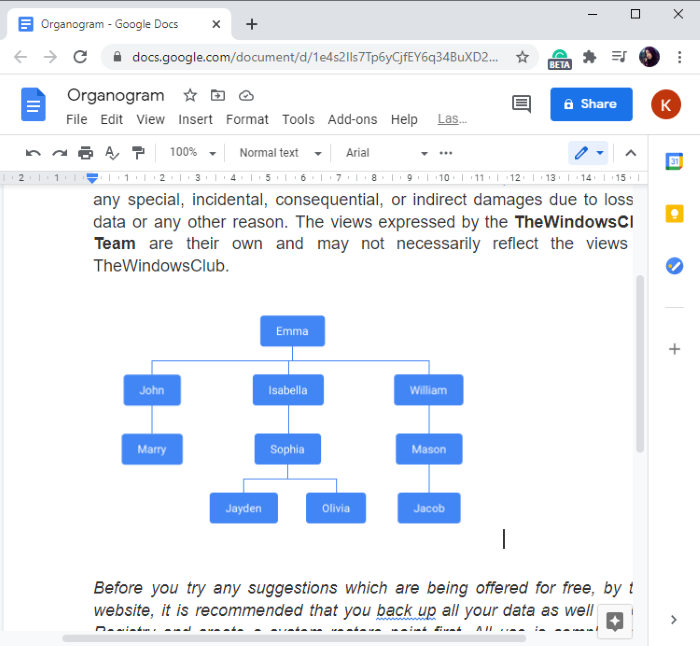 How to create an org chart in Google Docs