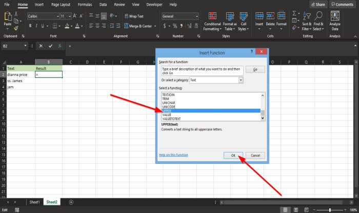 use the Lower and Upper function in Excel