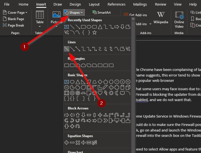 How to insert dotted lines in Word