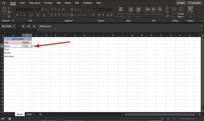 MID and MIDB function in Microsoft Excel