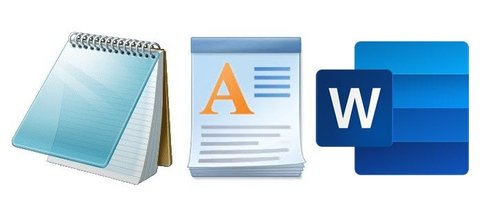 Notepad, WordPad and Word