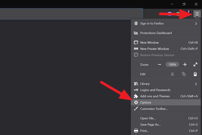 Options in Firefox