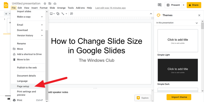change Slide Size in Google Slides