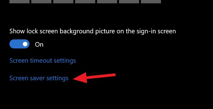 Screen saver settings on Windows 10