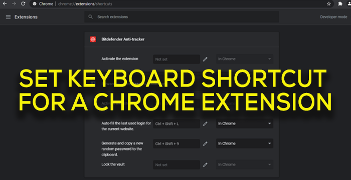 Set Keyboard Shortcut For a Chrome Extension
