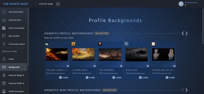 How to change profile background on Steam