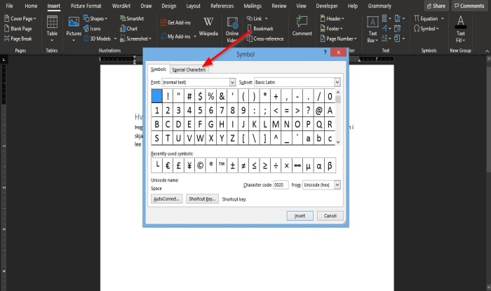 How to insert a Non-breaking Space in Word