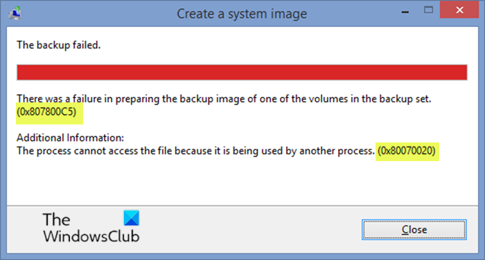 System Image Backup errors 0x807800C5 and 0x80070020