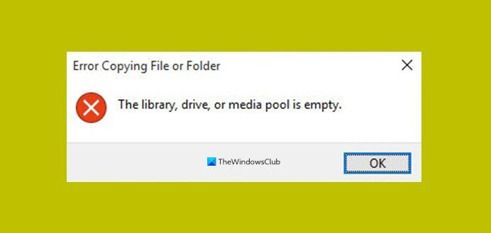 The library, drive or media pool is empty